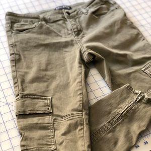 PacSun Bullhead army green moto skinny pants, sz 6